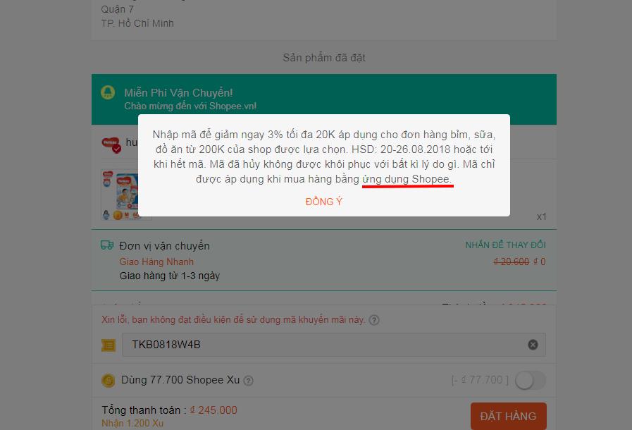 Cách nhập mã giảm giá Shopee điều kiện của mã giảm giá