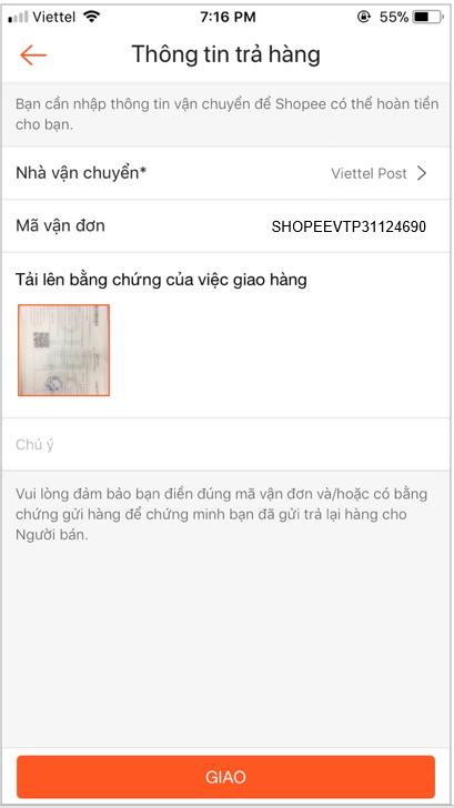 Hướng dẫn đổi trả hàng Shopee đăng tải hình ảnh hóa đơn