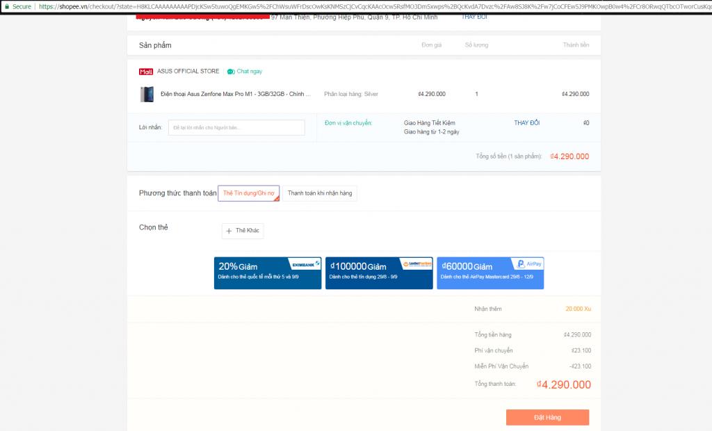 Hướng dẫn mua hàng trên Shopee chọn phương thức thanh toán