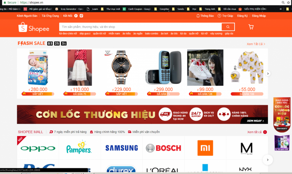 Hướng dẫn mua hàng trên Shopee tìm kiếm sản phẩm theo flash sale hoặc theo thương hiệu
