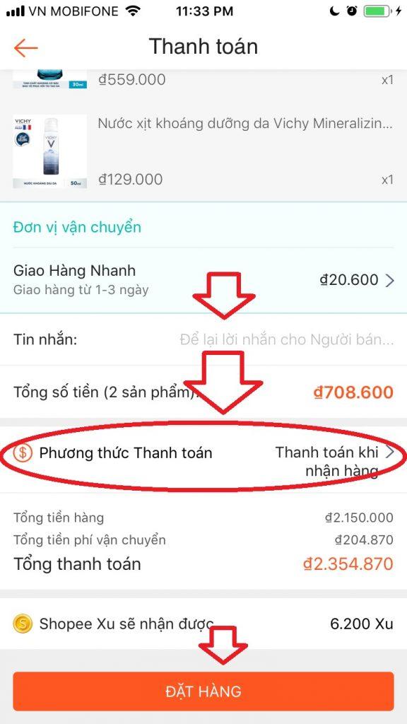 Hướng dẫn mua sắm Shopee App bước thanh toán