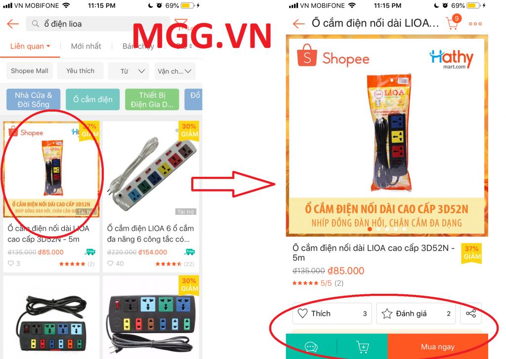 Hướng dẫn mua sắm Shopee App tìm sản phẩm