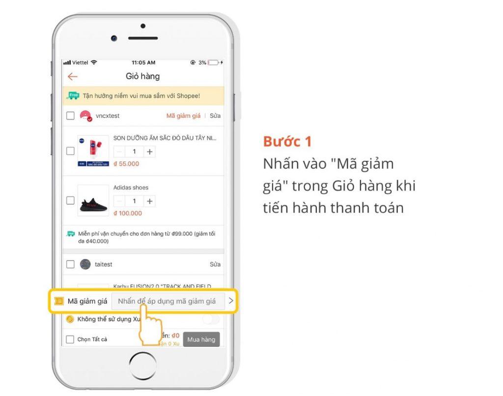 Nhập mã giảm giá vận chuyển Shopee sử dụng mã giảm giá như mã giảm giá bình thường nhé